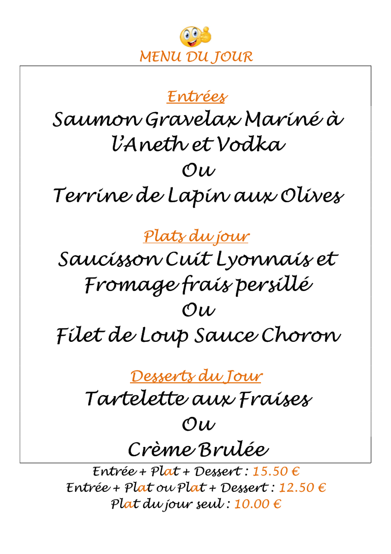 Exemple Menu du Jour